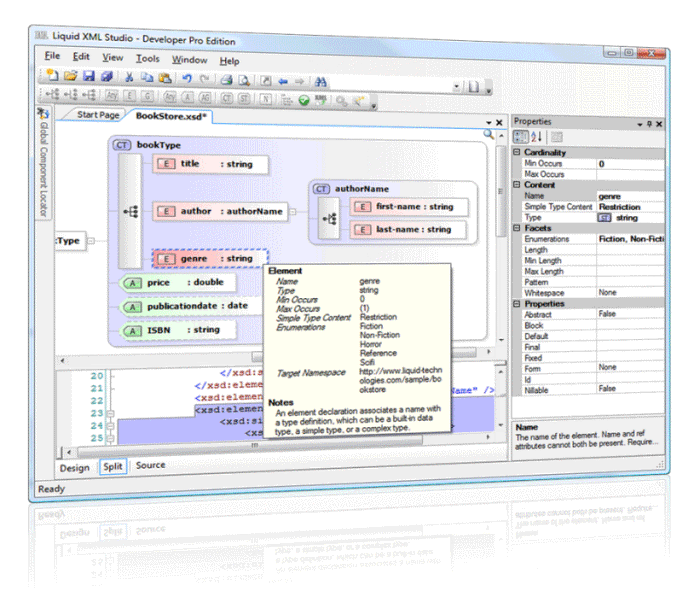 Graphical XML Schema Editor (XSD). A fully featured XML Development Studio.