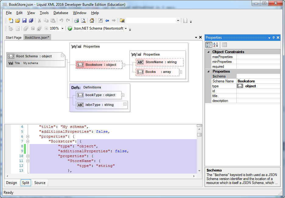 Json schema editor liquid studios json schema editor makes schema development fast and efficient with its intuitive graphical interface ccuart Choice Image