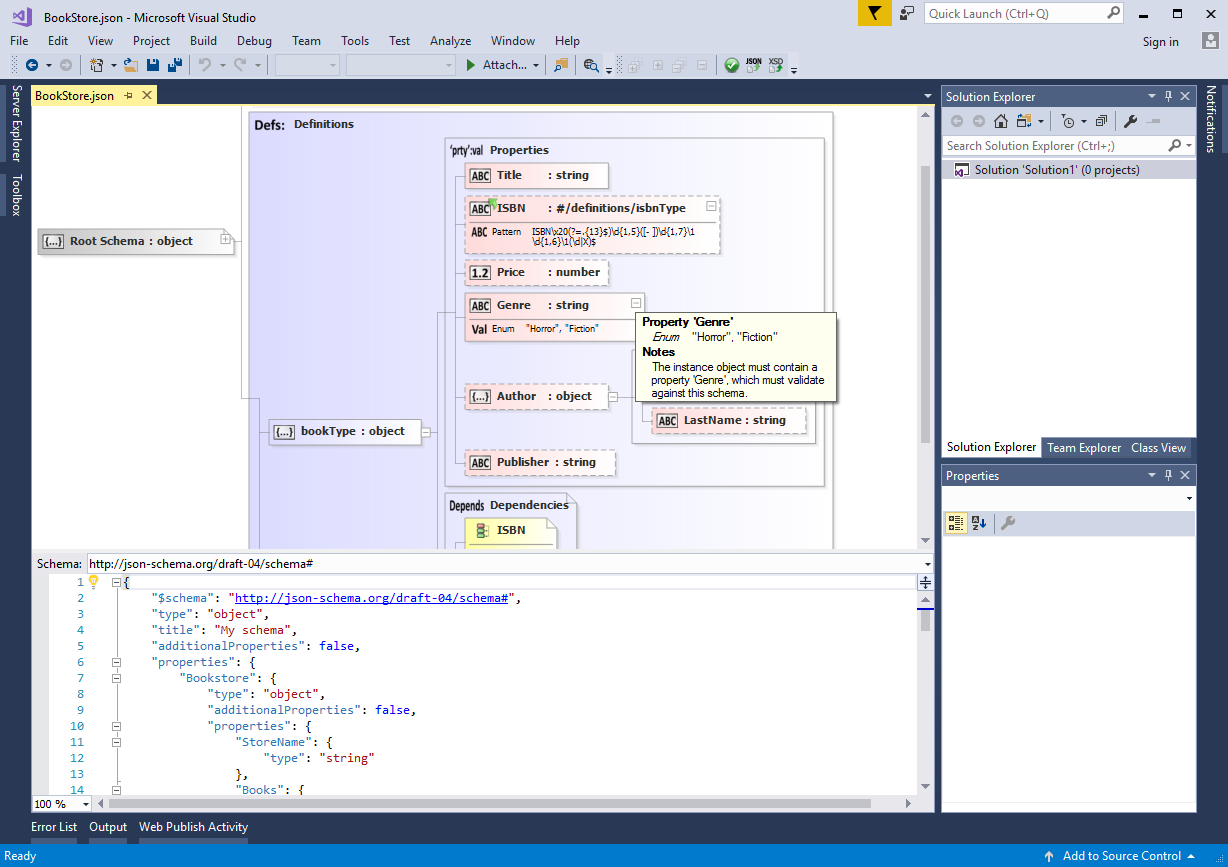 JOSN Schema Editor for Visual Studio