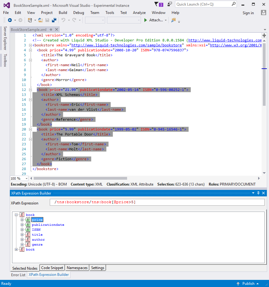 XPath Expression Builder for Visual Studio