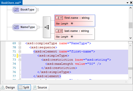 XML Schema Split view (code/model)